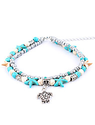 cheap -Turtle Double Layered Anklet - Women's Silver Animals / Double Layered / Vintage Starfish / Shell Anklet For Gift