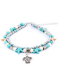 abordables -Tortue Double couche Bracelet de cheville - Femme Argent Animaux / Double couche / Rétro Étoile de mer / Coquillage Bracelet de cheville