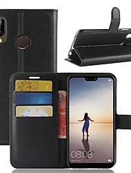 cheap -Case For Huawei P20 lite P20 Card Holder Wallet with Stand Flip Full Body Cases Solid Colored Hard PU Leather for Huawei P20 lite Huawei