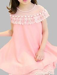 baratos -Menina de Vestido Diário Para Noite Sólido Primavera Verão Poliéster Sem Manga Fofo Azul Rosa
