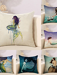 cheap -6 pcs Cotton/Linen Pillow Case Novelty Pillow Pillow Cover, Special Design Graphic Prints Novelty Artistic Style Boho