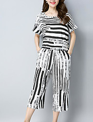 abordables -Femme Grandes Tailles Basique Set - Couleur Pleine, Imprimé Pantalon
