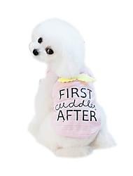 baratos -Cachorros Camisetas Roupas para Cães Sólido Desenho Animado Branco Azul Rosa claro Tecido Alcochoado Ocasiões Especiais Para animais de