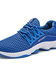 baratos -Homens sapatos Couro Ecológico Outono / Inverno Conforto Tênis Corrida Branco / Preto / Azul