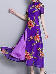 baratos -Mulheres Tamanhos Grandes Temática Asiática Delgado Bainha / Chifon / balanço Vestido - Fenda, Sólido / Geométrica Colarinho Chinês Longo