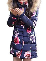 baratos -Para Meninas Capa & Casaco Duvet Floral Inverno Todas as Estações Poliéster Manga Longa Roupas de Festa Rosa Azul Marinha