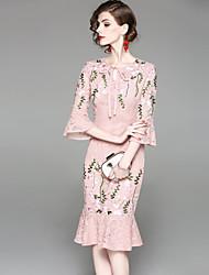 Недорогие -Жен. Классический Вспышка рукава Облегающий силуэт Платье - Цветочный принт, Кружева Вышивка Средней длины