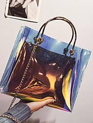 baratos -Mulheres Bolsas PVC Tote Ziper Azul / Dourado / Bolsas transparentes / Sacos de geléia a laser