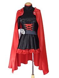 baratos -Inspirado por RWBY Ruby Rose Anime Fantasias de Cosplay Ternos de Cosplay Outro Manga Longa Vestido Capa Mais Acessórios Faixa / Fita