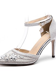 Недорогие -Жен. Обувь Лак / Материал на заказ клиента Весна / Осень Удобная обувь Обувь на каблуках На шпильке Заостренный носок Серебряный