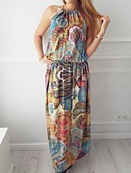 Недорогие -Жен. Классический Прямое Платье - Цветочный принт Макси
