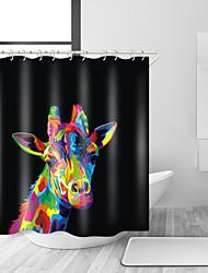 abordables -Rideaux de douche et anneaux Moderne Polyester Couleur Pleine Animal Fabrication à la machine Imperméable Salle de Bain