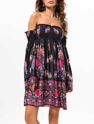 cheap -Women's Holiday Boho Cotton Swing Dress - Geometric Color Block Print High Waist Off Shoulder Boat Neck