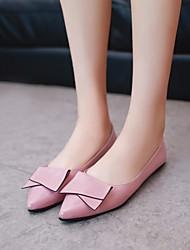baratos -Mulheres Sapatos Couro Ecológico Primavera Outono Conforto Rasos Salto Baixo para Casual Preto Verde Rosa claro