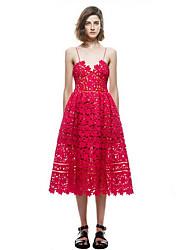 baratos -Mulheres Moda de Rua Bainha Vestido Sólido Com Alças Médio