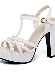 preiswerte -Damen Schuhe PU Sommer Pumps Komfort Sandalen Blockabsatz für Weiß Schwarz Rosa