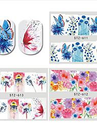 Недорогие -30 pcs Цветы Наклейка для ногтей Передача бумаги