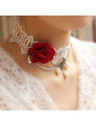 Недорогие -Ожерелья-бархатки - Цветы Милая, Элегантный стиль Цвет радуги 38 cm Ожерелье Назначение Свадьба, Для вечеринок