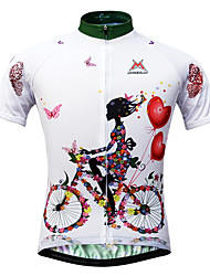 cheap -Mysenlan Women's Short Sleeves Cycling Jersey - White Floral / Botanical Bike Jersey, Quick Dry, Ultraviolet Resistant, Breathable,