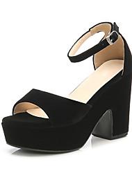 cheap -Women's Shoes Fabric Summer Novelty Sandals Chunky Heel Peep Toe Buckle Green / Blue / Almond / Party & Evening