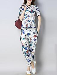 abordables -Femme Chinoiserie Bohème Set - Fleur Tartan, Imprimé Pantalon