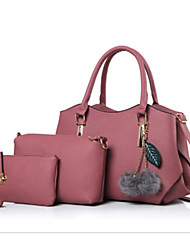 preiswerte -Damen Taschen PU Bag Set 3 Stück Geldbörse Set Federn / Pelzl für Normal Schwarz / Rosa / Grau