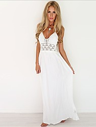 cheap -Women's Boho Chiffon Dress - Solid Colored Cut Out