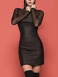 abordables -Femme Slim Moulante Robe - Maille, Couleur Pleine Taille haute Au dessus du genou