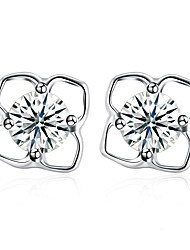 baratos -Mulheres Zircônia Cubica Brincos Curtos - S925 Sterling Silver Fashion Prata Para Presente / Diário