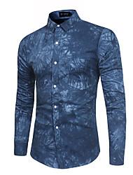 Недорогие -Муж. Рубашка Хлопок Классический Цветочный принт / Длинный рукав