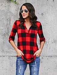 Недорогие -Жен. Рубашка Очаровательный Уличный стиль Контрастных цветов Шахматка