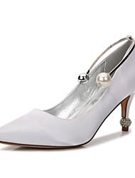 Недорогие -Жен. Обувь Сатин Весна Лето Туфли лодочки Туфли д'Орсе Удобная обувь Свадебная обувь На каблуке-рюмочке Заостренный носок Стразы Жемчуг
