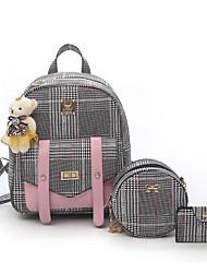 povoljno -Žene Torbe PU Bag Setovi 3 kom Patent-zatvarač za Kauzalni Sva doba Crn Blushing Pink Tamno smeđa