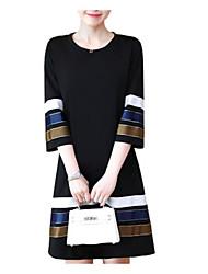 Недорогие -Жен. Большие размеры А-силуэт Платье - Контрастных цветов, С принтом Выше колена Черный