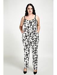 abordables -Femme Rétro Chic de Rue Combinaison-pantalon - Imprimé Mosaïque, Fleur Couleur Pleine