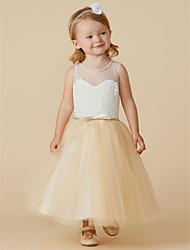 cheap -A-Line Tea Length Flower Girl Dress - Lace Tulle Sleeveless Jewel Neck with Beading Lace Sash / Ribbon by LAN TING BRIDE®
