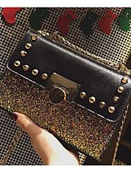 cheap -Women's Bags PU Shoulder Bag Rivet for Casual Black / Rainbow