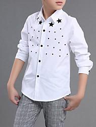 Недорогие -Мальчики Рубашка Повседневные Школа Хлопок Однотонный Весна Длинный рукав Белый