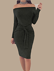 cheap -Women's Holiday Basic Street chic Skinny Bodycon Dress - Solid Colored Strapless Off Shoulder Boat Neck
