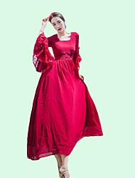 povoljno -Žene Vintage Osnovni Rukav leptir Korice Swing kroj Haljina Jednobojni Midi