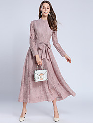 baratos -Mulheres Moda de Rua balanço Vestido - Renda, Sólido Longo