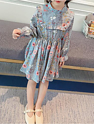 cheap -Girl's Daily Going out Solid Floral Floral/Botanical Dress, Cotton POLY Spring Long Sleeves Simple Cute Active Blue