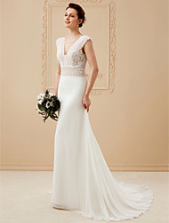 cheap -A-Line V Neck Court Train Chiffon / Corded Lace Made-To-Measure Wedding Dresses with Lace by LAN TING BRIDE® / See-Through