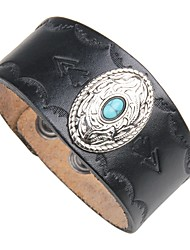 cheap -Men's Turquoise Leather Cool 1pc Cuff Bracelet Leather Bracelet - Vintage Rock Circle Black Brown Bracelet For Club Street