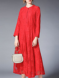 cheap -Women's Street chic Loose Chiffon Dress - Solid Colored Lace Maxi