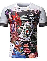 preiswerte -Herrn Blumen Geometrisch - Grundlegend Übergrössen Baumwolle T-shirt, Rundhalsausschnitt Schlank Druck