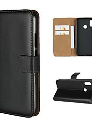 billiga -fodral Till Huawei P20 lite P20 Korthållare Plånbok med stativ Fodral Enfärgad Hårt Äkta Läder för Huawei P20 lite Huawei P20