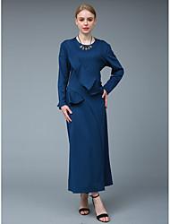 preiswerte -Damen Anspruchsvoll Street Schick Hülle Swing Zweiteiler Kleid - Rüsche, Solide Maxi