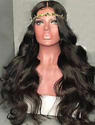 baratos -Cabelo Remy Peruca Cabelo Brasileiro Ondulado 130% Densidade Com Baby Hair Com nós descorados Não processado Peruca Afro Americanas