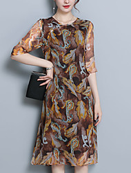 cheap -Women's Going out Sophisticated Silk Loose A Line Dress - Geometric Print